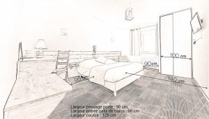 chambre mobilité réduite croquis dimensions Hotel du moulin de la Brevette Arbigny